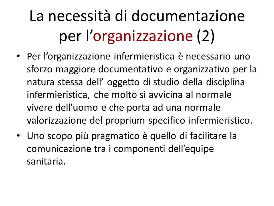 La necessità di documentazione per l'organizzazione (2) Per l'organizzazione infermieristica è necessario uno sforzo maggiore documentativo e organizz