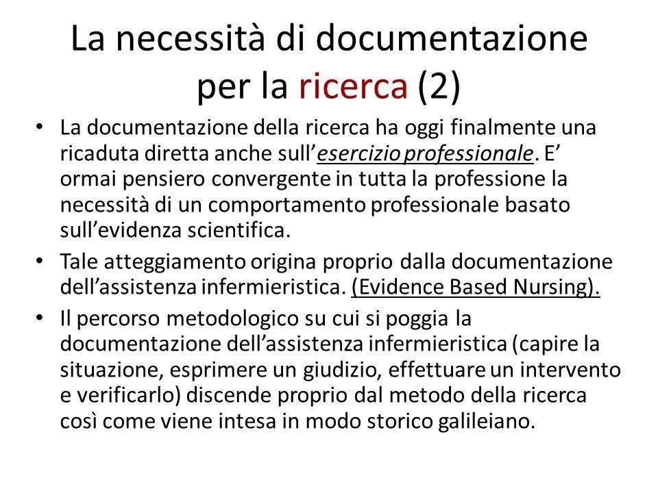 La necessità di documentazione per la ricerca (2) La documentazione della ricerca ha oggi finalmente una ricaduta diretta anche sull'esercizio profess