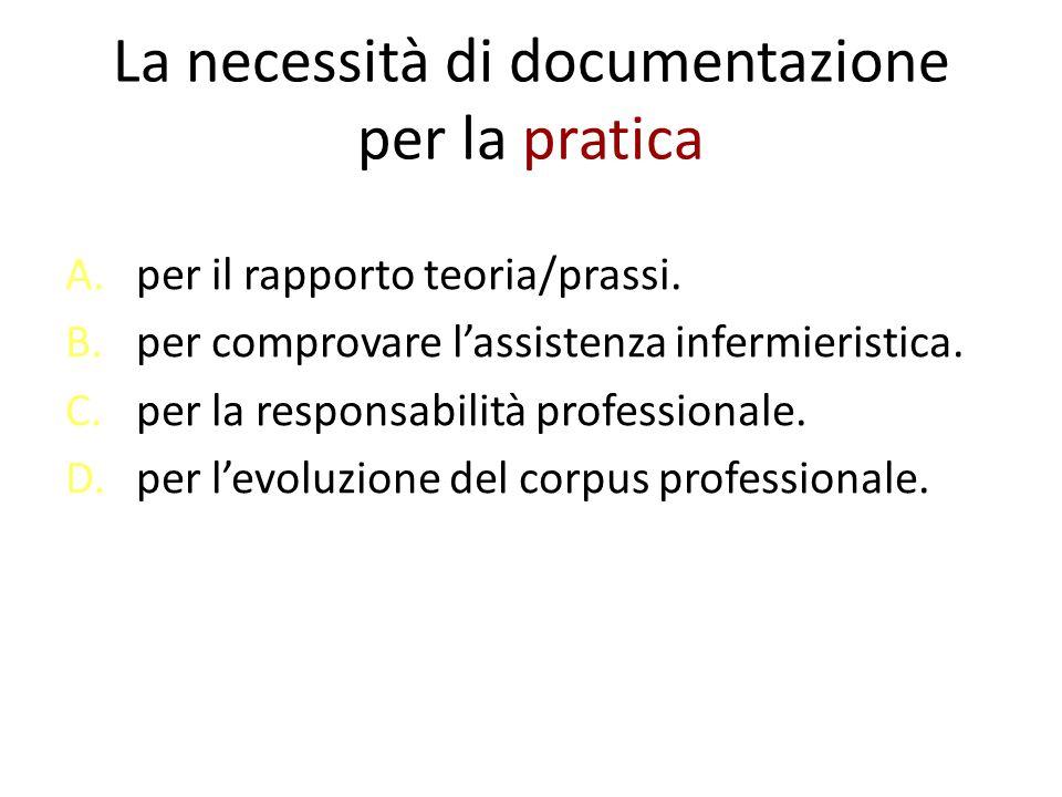 La necessità di documentazione per la pratica A.per il rapporto teoria/prassi. B.per comprovare l'assistenza infermieristica. C.per la responsabilità