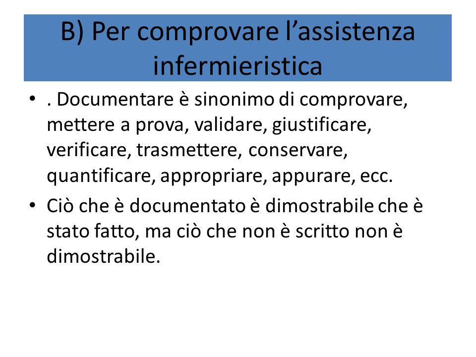 B) Per comprovare l'assistenza infermieristica. Documentare è sinonimo di comprovare, mettere a prova, validare, giustificare, verificare, trasmettere