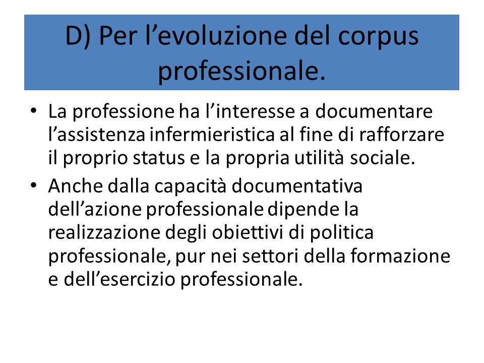 D) Per l'evoluzione del corpus professionale. La professione ha l'interesse a documentare l'assistenza infermieristica al fine di rafforzare il propri