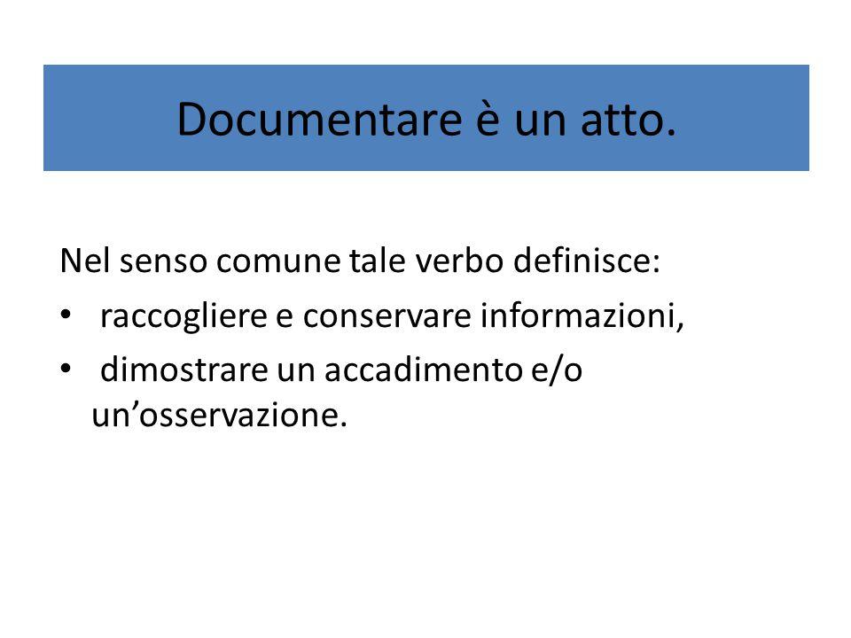 Documentare è un atto. Nel senso comune tale verbo definisce: raccogliere e conservare informazioni, dimostrare un accadimento e/o un'osservazione.