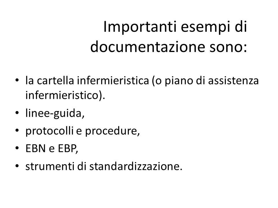 Importanti esempi di documentazione sono: la cartella infermieristica (o piano di assistenza infermieristico). linee-guida, protocolli e procedure, EB
