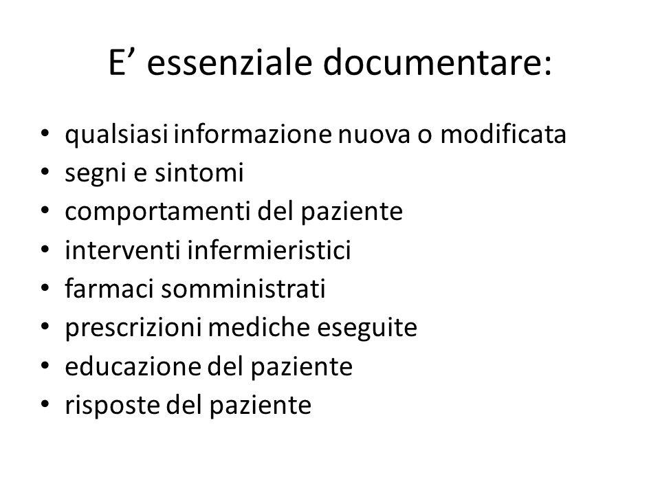 E' essenziale documentare: qualsiasi informazione nuova o modificata segni e sintomi comportamenti del paziente interventi infermieristici farmaci som