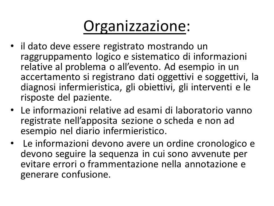 Organizzazione: il dato deve essere registrato mostrando un raggruppamento logico e sistematico di informazioni relative al problema o all'evento. Ad