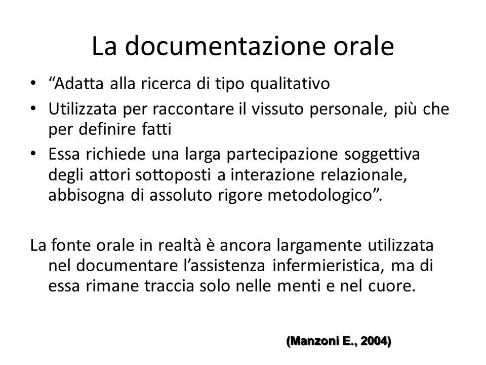 """La documentazione orale """"Adatta alla ricerca di tipo qualitativo Utilizzata per raccontare il vissuto personale, più che per definire fatti Essa richi"""