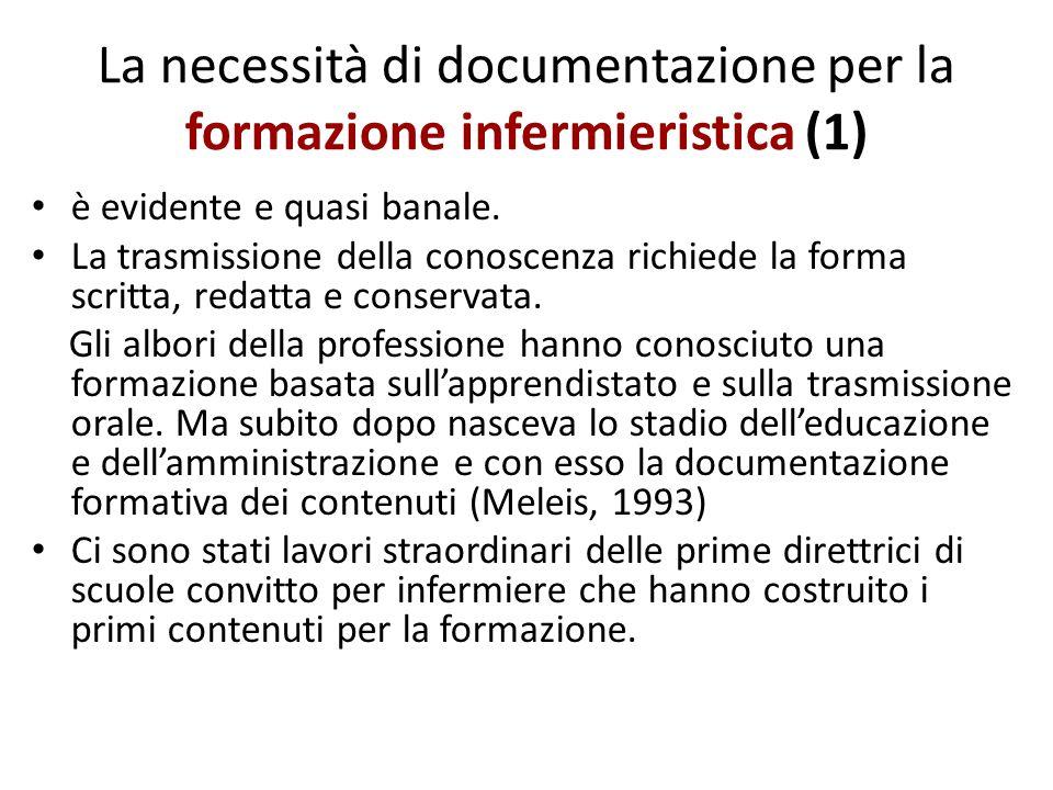 La necessità di documentazione per la formazione infermieristica (2) La documentazione costituisce quindi la raccolta di pluralità di pensiero, la rispondenza ai vari obiettivi nei diversi livelli di formazione.
