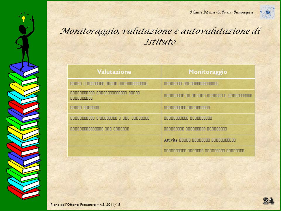 Monitoraggio, valutazione e autovalutazione di Istituto VALUTARE PER MIGLIORARE Il monitoraggio e la valutazione acquistano importanza decisiva all'in