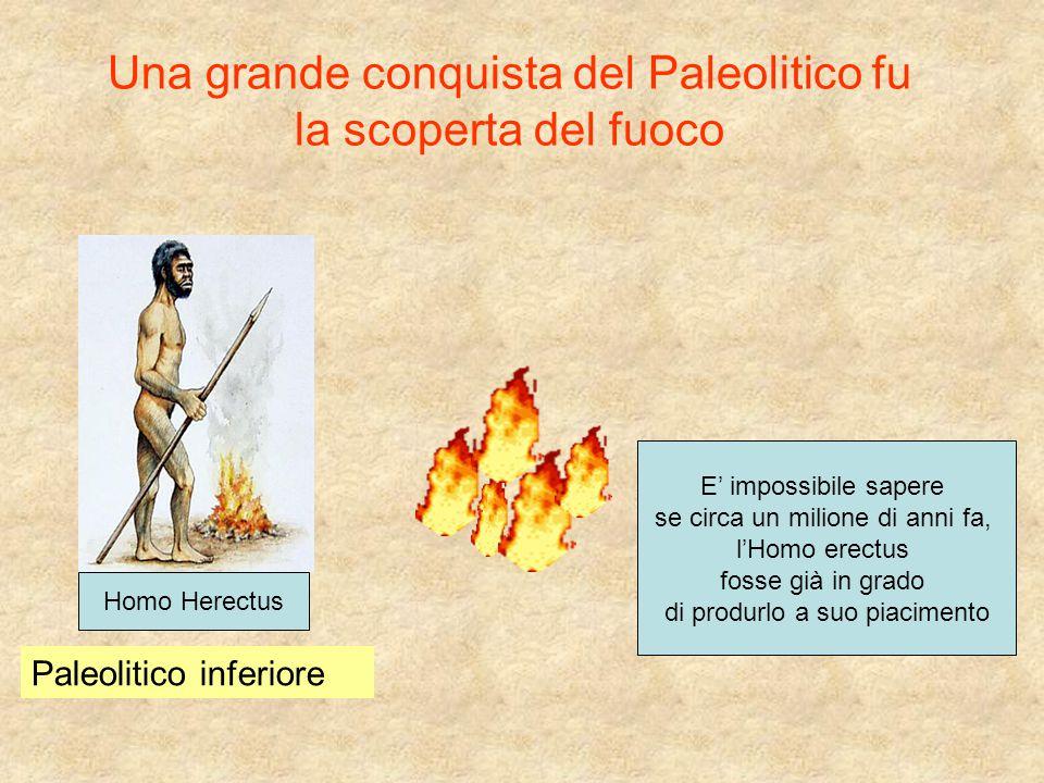 Una grande conquista del Paleolitico fu la scoperta del fuoco E' impossibile sapere se circa un milione di anni fa, l'Homo erectus fosse già in grado
