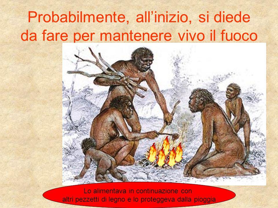 Probabilmente, all'inizio, si diede da fare per mantenere vivo il fuoco Lo alimentava in continuazione con altri pezzetti di legno e lo proteggeva dal