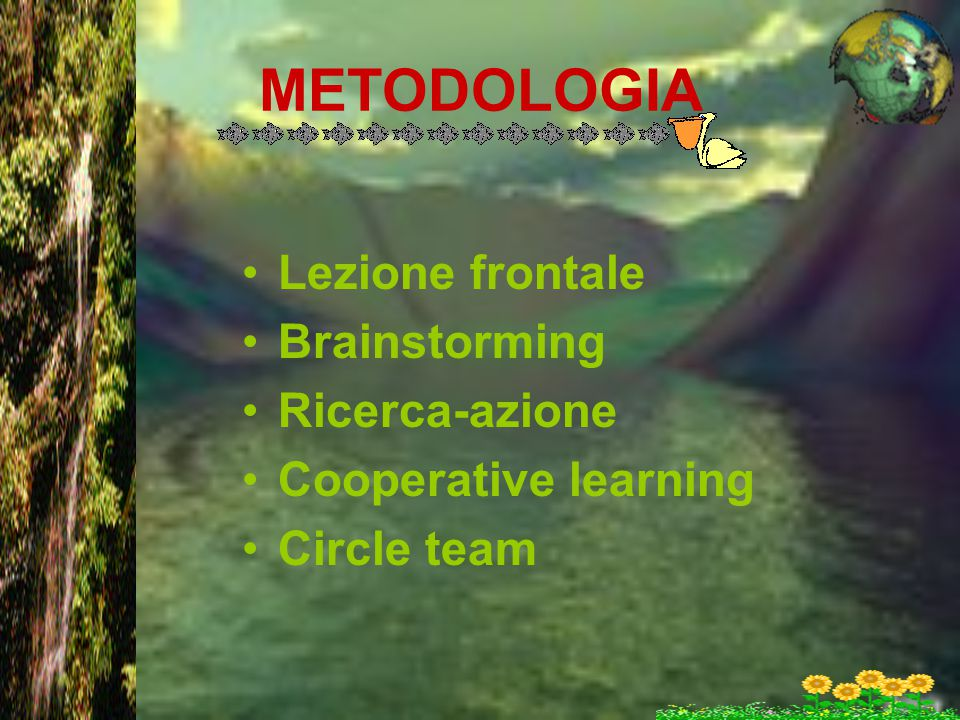 METODOLOGIA Lezione frontale Brainstorming Ricerca-azione Cooperative learning Circle team