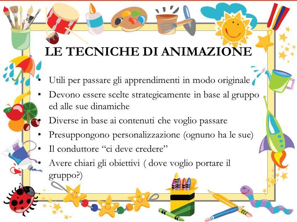 Centro per l Evangelizzazione e la Catechesi28 Le tecniche di animazione, traducendo in regole di gioco alcuni principi della comunicazione, favoriscono l'apprendimento e la comunicazione interpersonale.