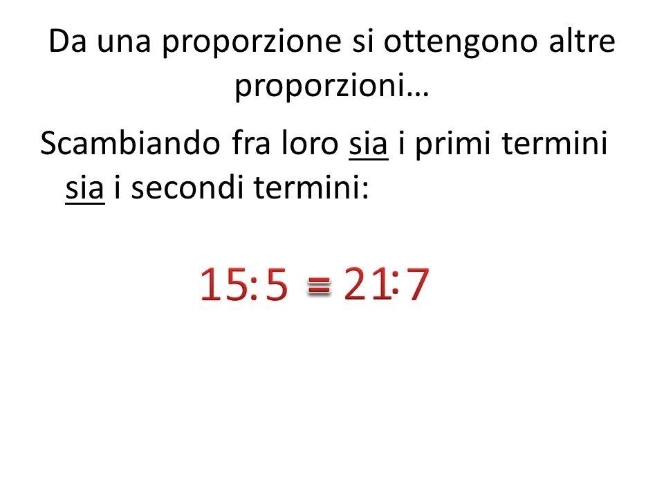 Da una proporzione si ottengono altre proporzioni… Scambiando fra loro sia i primi termini sia i secondi termini:
