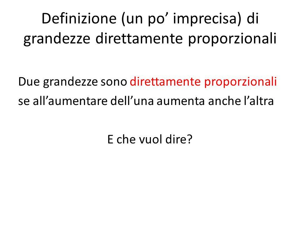 Definizione (un po' imprecisa) di grandezze direttamente proporzionali Due grandezze sono direttamente proporzionali se all'aumentare dell'una aumenta