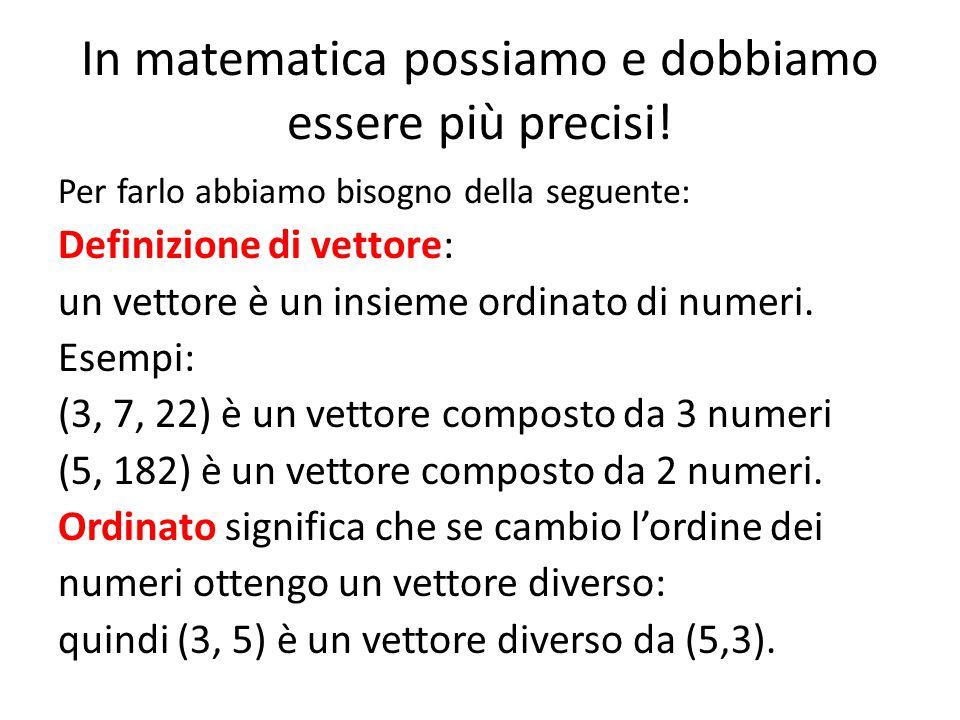 In matematica possiamo e dobbiamo essere più precisi! Per farlo abbiamo bisogno della seguente: Definizione di vettore: un vettore è un insieme ordina