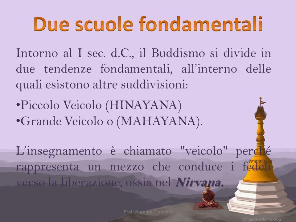 Intorno al I sec. d.C., il Buddismo si divide in due tendenze fondamentali, all'interno delle quali esistono altre suddivisioni: Piccolo Veicolo (HINA