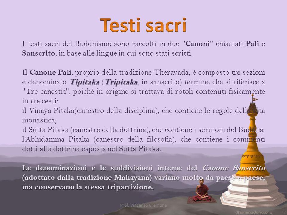 I testi sacri del Buddhismo sono raccolti in due
