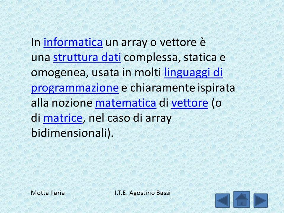 In informatica un array o vettore è una struttura dati complessa, statica e omogenea, usata in molti linguaggi di programmazione e chiaramente ispirata alla nozione matematica di vettore (o di matrice, nel caso di array bidimensionali).informaticastruttura datilinguaggi di programmazionematematicavettorematrice Motta Ilaria I.T.E.