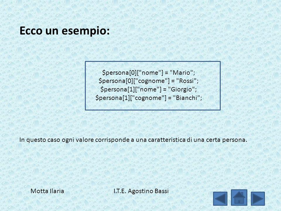Ecco un esempio: $persona[0][ nome ] = Mario ; $persona[0][ cognome ] = Rossi ; $persona[1][ nome ] = Giorgio ; $persona[1][ cognome ] = Bianchi ; In questo caso ogni valore corrisponde a una caratteristica di una certa persona.
