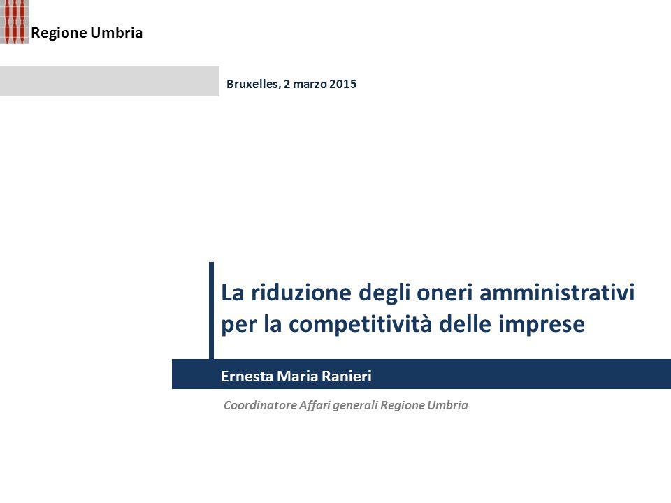 La riduzione degli oneri amministrativi per la competitività delle imprese Coordinatore Affari generali Regione Umbria Bruxelles, 2 marzo 2015 Ernesta
