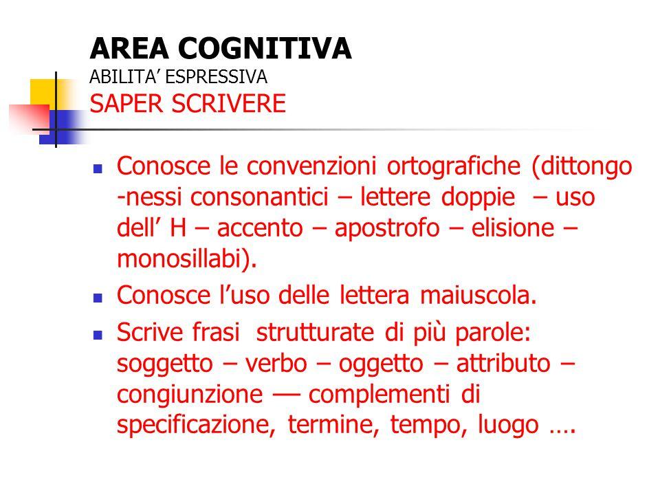 AREA COGNITIVA ABILITA' ESPRESSIVA SAPER SCRIVERE Conosce le convenzioni ortografiche (dittongo -nessi consonantici – lettere doppie – uso dell' H – a