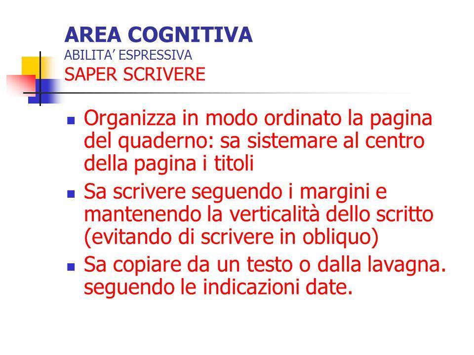 AREA COGNITIVA ABILITA' ESPRESSIVA SAPER SCRIVERE Organizza in modo ordinato la pagina del quaderno: sa sistemare al centro della pagina i titoli Sa s