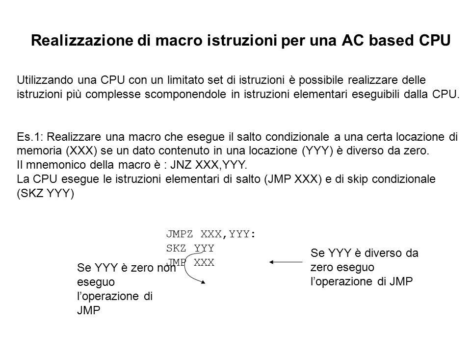 Realizzazione di macro istruzioni per una AC based CPU Utilizzando una CPU con un limitato set di istruzioni è possibile realizzare delle istruzioni p