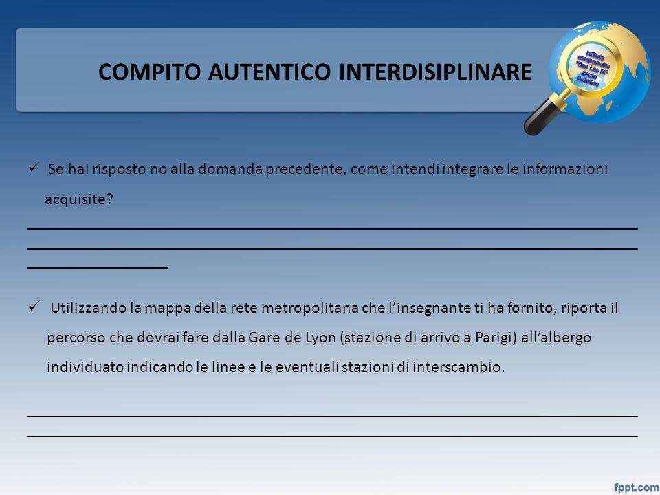 COMPITO AUTENTICO INTERDISIPLINARE Se hai risposto no alla domanda precedente, come intendi integrare le informazioni acquisite? _____________________