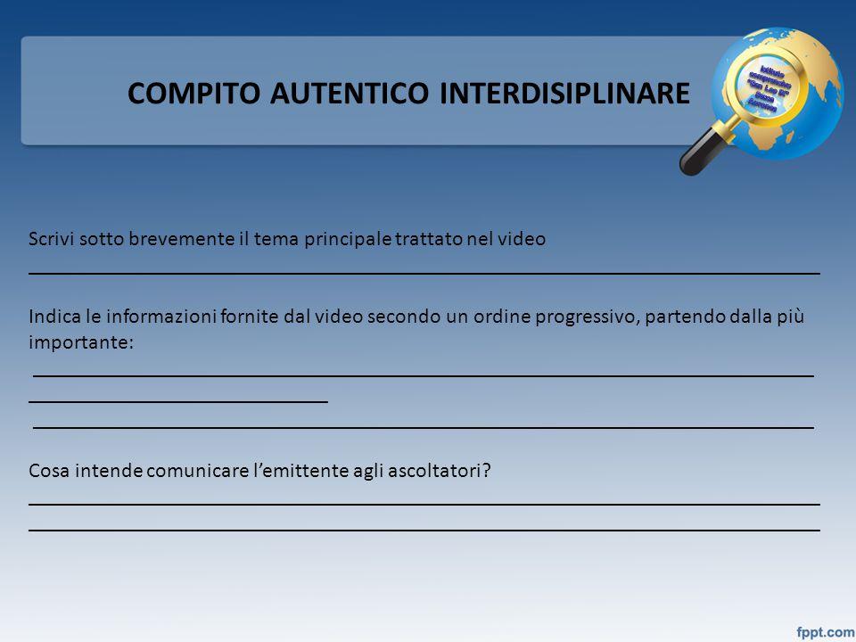 COMPITO AUTENTICO INTERDISIPLINARE Scrivi sotto brevemente il tema principale trattato nel video _____________________________________________________