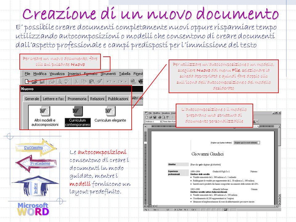 Microsoft WORD Precedente Indice Elementi dello schermo All'avvio di Word, sullo schermo viene visualizzato un documento nuovo.