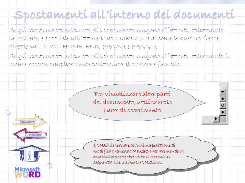 Microsoft WORD Precedente Indice Digitazione del testo Dopo l'apertura di un nuovo documento, è possibile iniziare subito a digitare il testo.