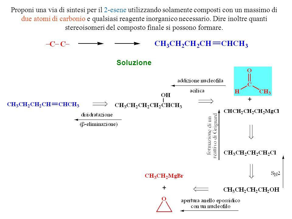 Proponi una via di sintesi per il 2-esene utilizzando solamente composti con un massimo di due atomi di carbonio e qualsiasi reagente inorganico neces