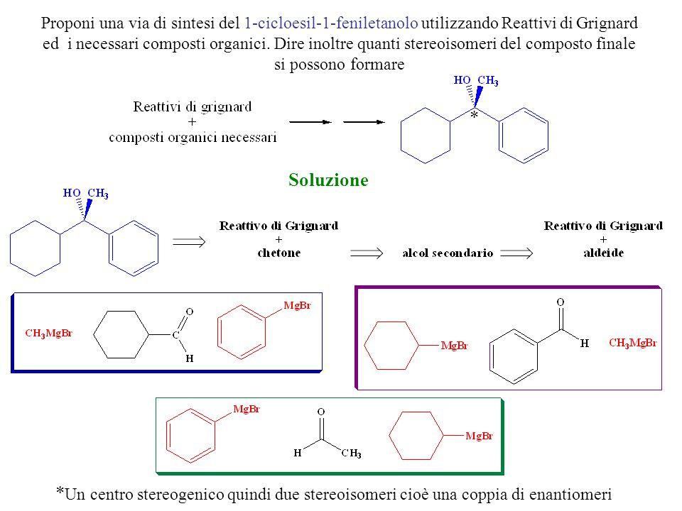 Proponi una via di sintesi del 1-cicloesil-1-feniletanolo utilizzando Reattivi di Grignard ed i necessari composti organici. Dire inoltre quanti stere