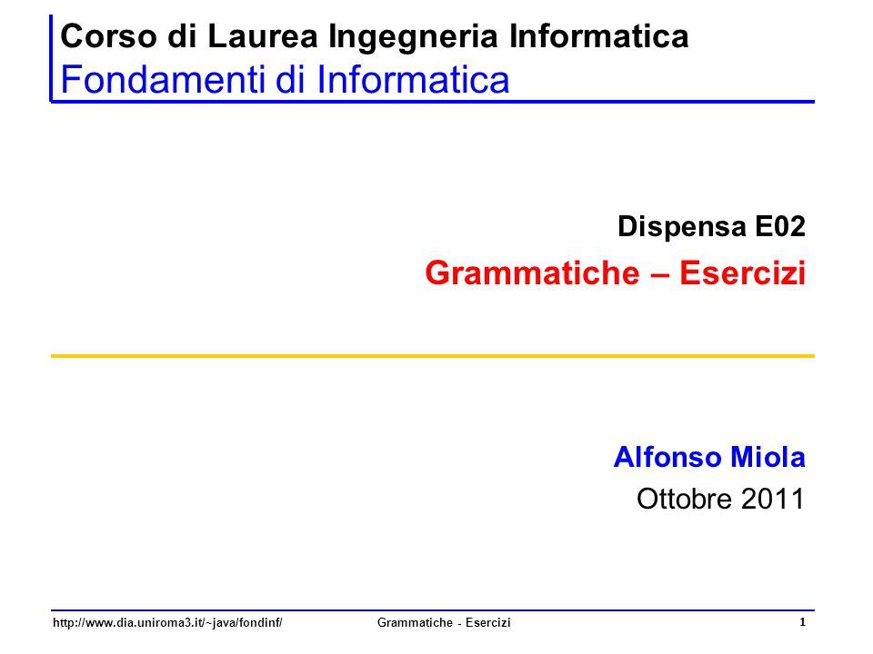 http://www.dia.uniroma3.it/~java/fondinf/Grammatiche - Esercizi 1 Corso di Laurea Ingegneria Informatica Fondamenti di Informatica Dispensa E02 Gramma