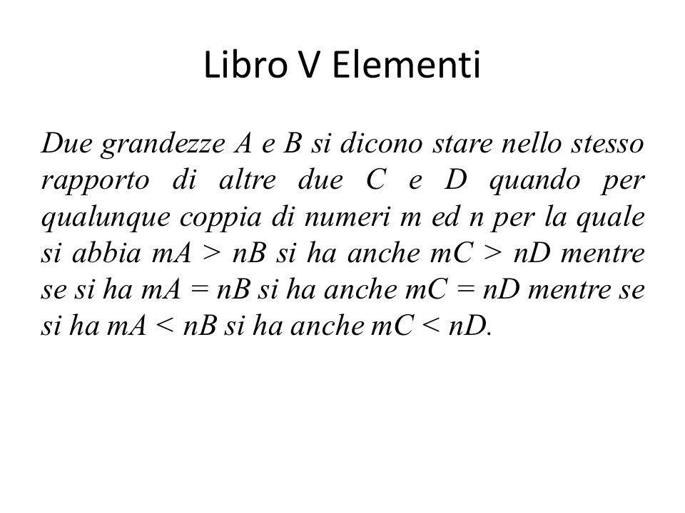 Libro V Elementi Due grandezze A e B si dicono stare nello stesso rapporto di altre due C e D quando per qualunque coppia di numeri m ed n per la quale si abbia mA > nB si ha anche mC > nD mentre se si ha mA = nB si ha anche mC = nD mentre se si ha mA < nB si ha anche mC < nD.