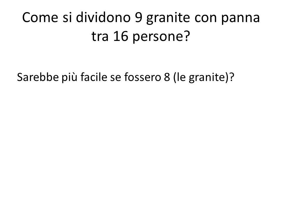 Come si dividono 9 granite con panna tra 16 persone? Sarebbe più facile se fossero 8 (le granite)?