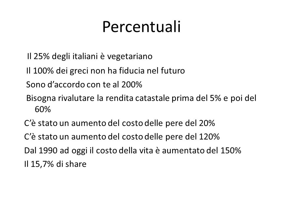 Percentuali Il 25% degli italiani è vegetariano Il 100% dei greci non ha fiducia nel futuro Sono d'accordo con te al 200% Bisogna rivalutare la rendita catastale prima del 5% e poi del 60% C'è stato un aumento del costo delle pere del 20% C'è stato un aumento del costo delle pere del 120% Dal 1990 ad oggi il costo della vita è aumentato del 150% Il 15,7% di share
