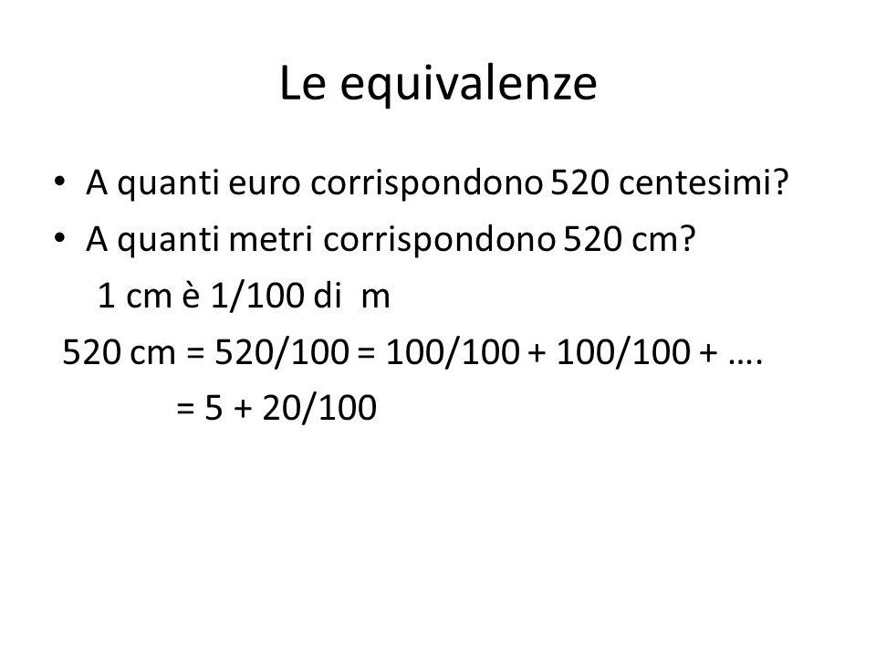 Le equivalenze A quanti euro corrispondono 520 centesimi.