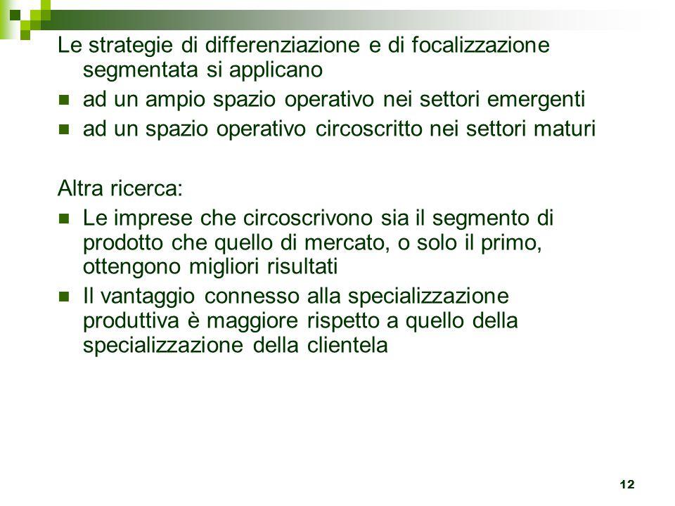 12 Le strategie di differenziazione e di focalizzazione segmentata si applicano ad un ampio spazio operativo nei settori emergenti ad un spazio operat