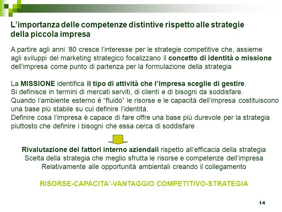 14 L'importanza delle competenze distintive rispetto alle strategie della piccola impresa A partire agli anni '80 cresce l'interesse per le strategie
