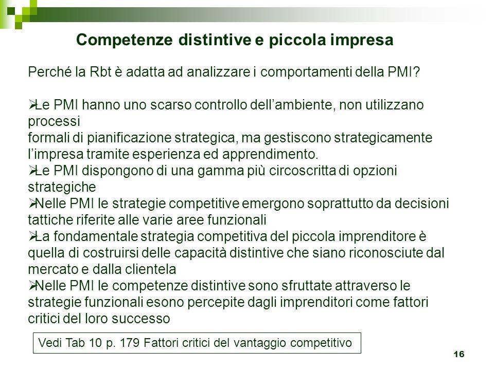 16 Competenze distintive e piccola impresa Perché la Rbt è adatta ad analizzare i comportamenti della PMI?  Le PMI hanno uno scarso controllo dell'am