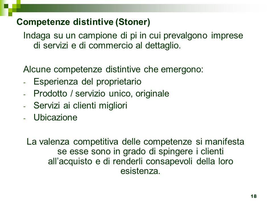 18 Competenze distintive (Stoner) Indaga su un campione di pi in cui prevalgono imprese di servizi e di commercio al dettaglio. Alcune competenze dist