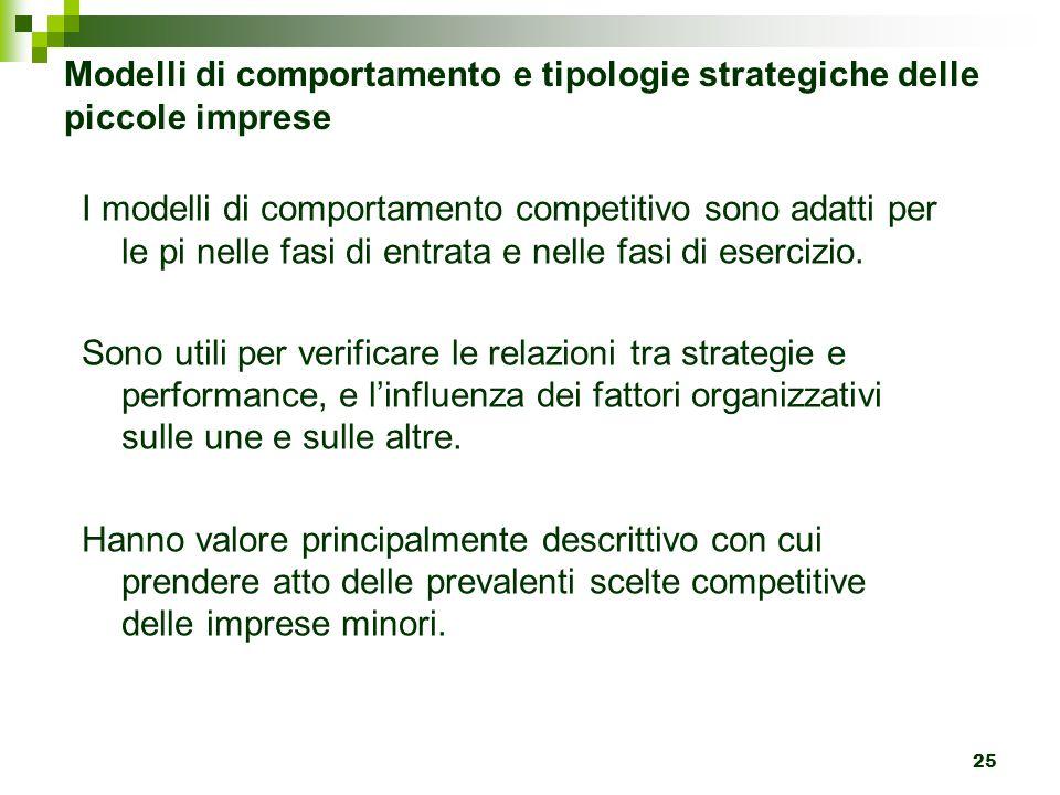 25 Modelli di comportamento e tipologie strategiche delle piccole imprese I modelli di comportamento competitivo sono adatti per le pi nelle fasi di entrata e nelle fasi di esercizio.