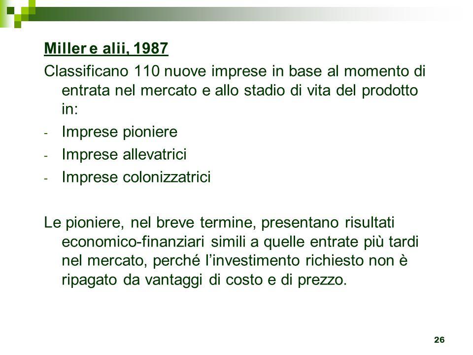 26 Miller e alii, 1987 Classificano 110 nuove imprese in base al momento di entrata nel mercato e allo stadio di vita del prodotto in: - Imprese pioni