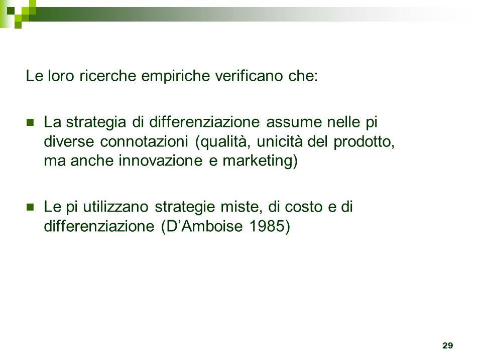 29 Le loro ricerche empiriche verificano che: La strategia di differenziazione assume nelle pi diverse connotazioni (qualità, unicità del prodotto, ma anche innovazione e marketing) Le pi utilizzano strategie miste, di costo e di differenziazione (D'Amboise 1985)
