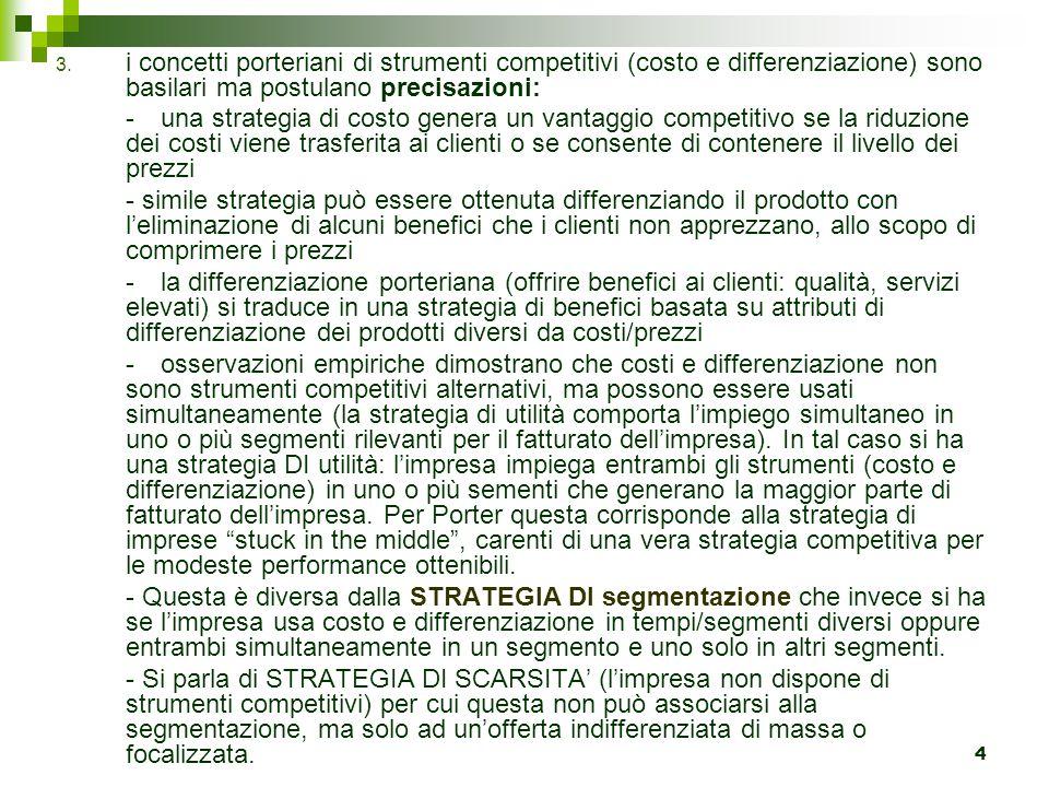 4 3. i concetti porteriani di strumenti competitivi (costo e differenziazione) sono basilari ma postulano precisazioni: -una strategia di costo genera
