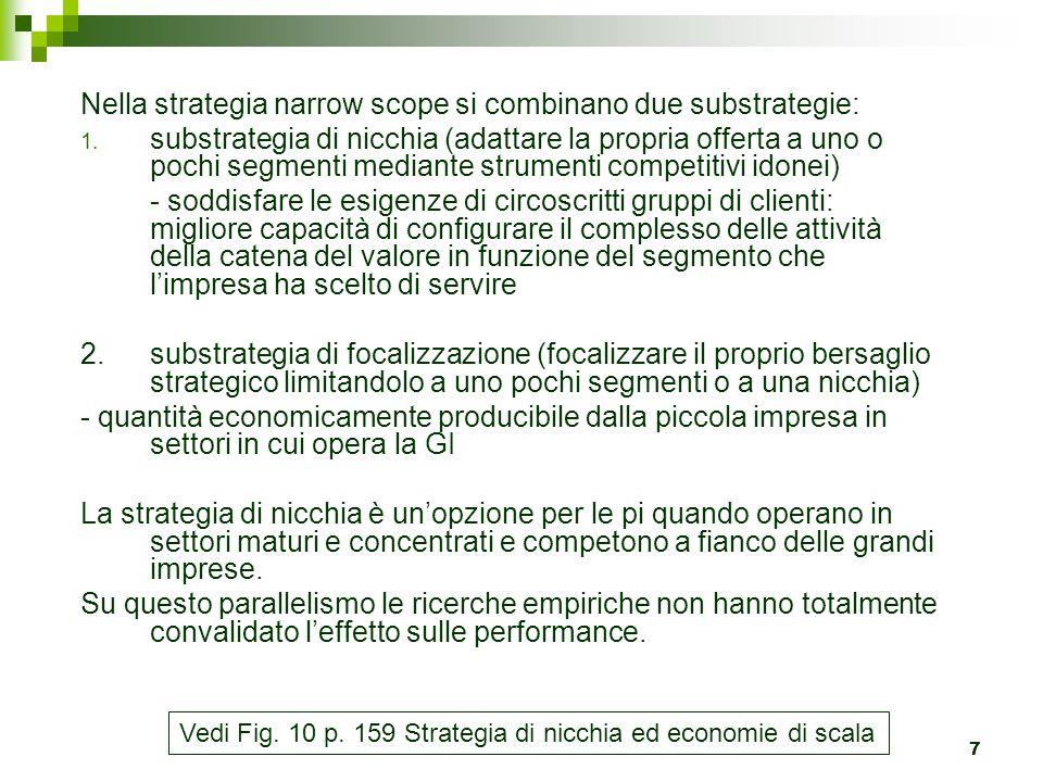 7 Nella strategia narrow scope si combinano due substrategie: 1. substrategia di nicchia (adattare la propria offerta a uno o pochi segmenti mediante