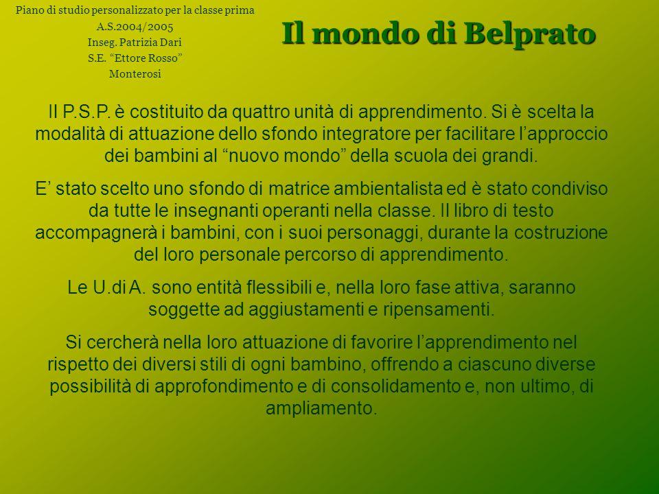 """Il mondo di Belprato Piano di studio personalizzato per la classe prima A.S.2004/2005 Inseg. Patrizia Dari S.E. """"Ettore Rosso"""" Monterosi Il P.S.P. è c"""