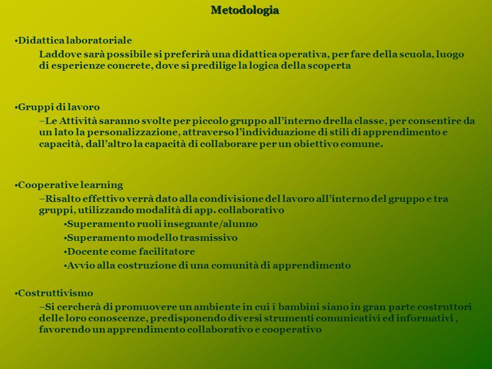 Metodologia Didattica laboratoriale Laddove sarà possibile si preferirà una didattica operativa, per fare della scuola, luogo di esperienze concrete,