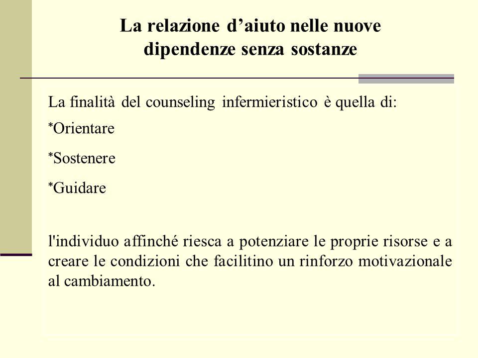 La finalità del counseling infermieristico è quella di: * Orientare * Sostenere * Guidare l'individuo affinché riesca a potenziare le proprie risorse
